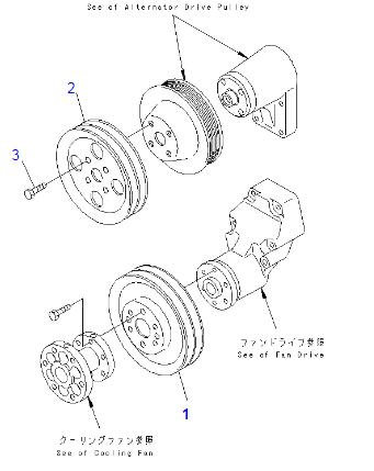 6735-61-3280 6D102  Excavator Engine Spare Parts / Fan Pulley For Komatsu PC200-6 PC220-6